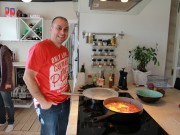 Moshe making shakshuka - Really good!