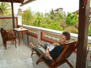 Relaxing a bit before taking a tour of Ubud