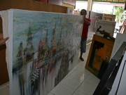 Buying another painting in Ubud - A real artist village. This painting is huge and only cost 1.000.000 rp or aprox. 575 Danish kr.