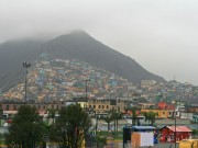 View of the eastern colourful part of Lima in shitty weather