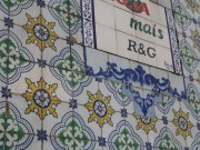 Tiles on many buildings in Lisbon