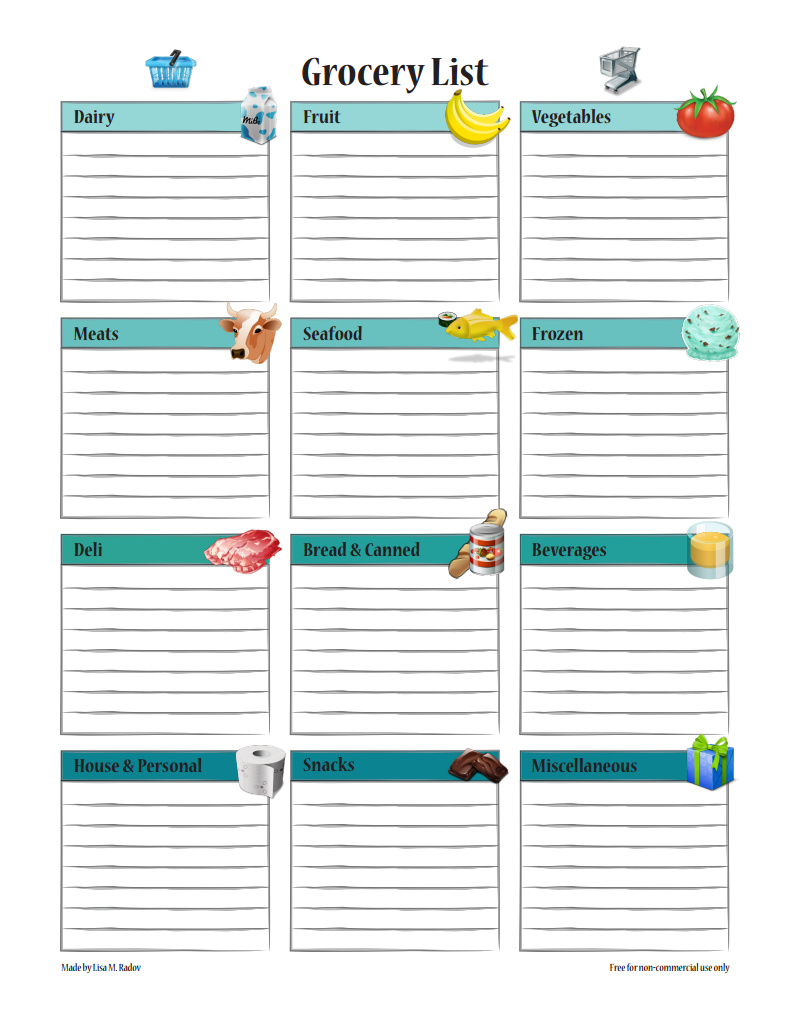 Free Grocery List Printable